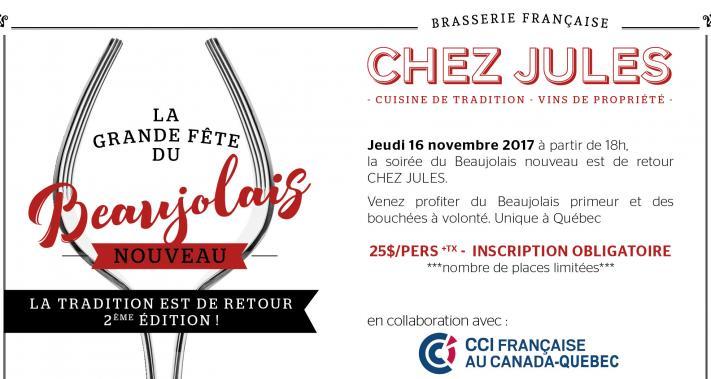 16 novembre 2017 - La Grande fête du Beaujolais Nouveau à la brasserie Chez Jules