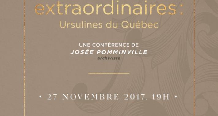 27 novembre 2017 - Le pôle culturel du Monastère des Ursulines présente Les Charmantes soirées