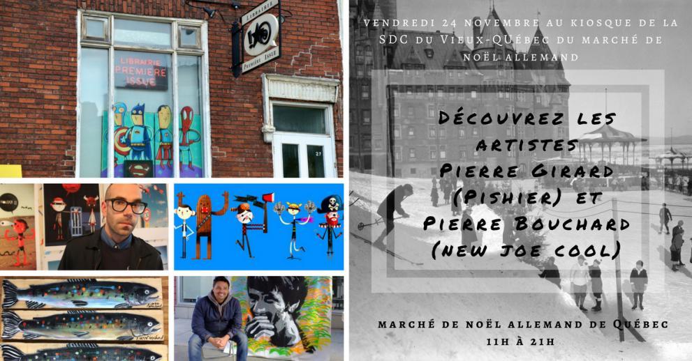 Les artistes Pierre Bouchard et Pierre Girard au kiosque de la SDC