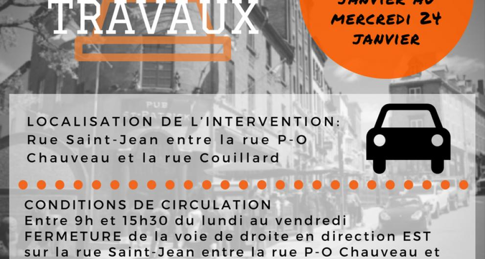 Travaux devant rue P-O Chauveau