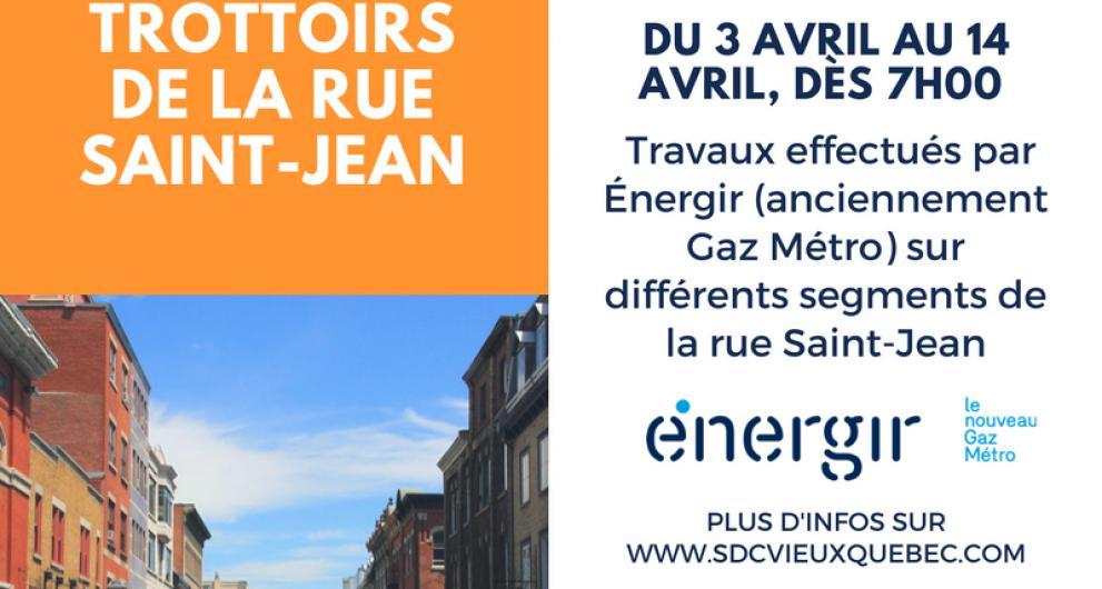 ATTENTION: travaux Énergir/gaz Métro sur la ure St-Jean